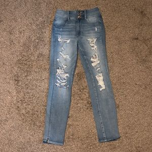 Super high rise ripped jeans size 2